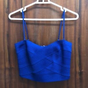 Express royal blue crop top, new. Never used